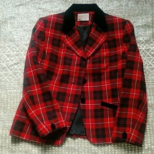 Petite pendleton black and red wool blazer size 6p